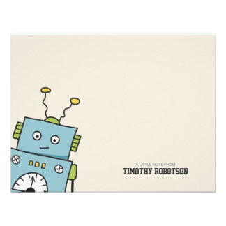 Hand Drawn Robot Flat Note Card Personalized Announcement