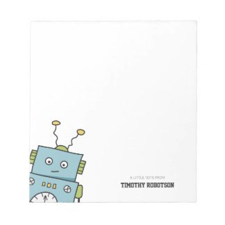 Hand Drawn Robot Personalizable Notepad