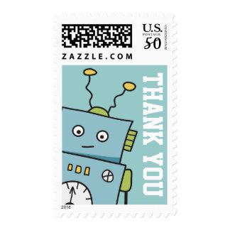 Hand Drawn Robot Thank You Postage