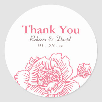 Hand drawn rose favor stickers pink