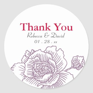 Hand drawn rose favor stickers purple sticker