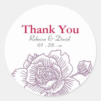 Hand drawn rose favor stickers purple