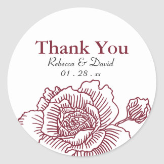 Hand drawn rose favor stickers red