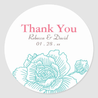 Hand drawn rose favor stickers turquoise