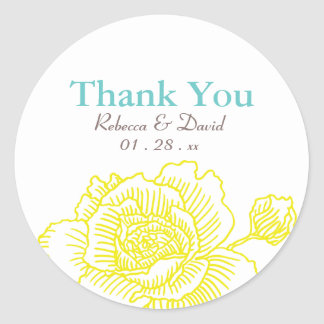 Hand drawn rose favor stickers yellow