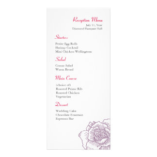 Hand drawn rose reception menu purple personalized rack card