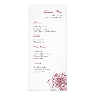 Hand drawn rose reception menu red full color rack card