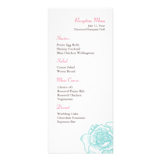 Hand drawn rose reception menu turquoise customized rack card