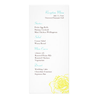 Hand drawn rose reception menu yellow rack card template