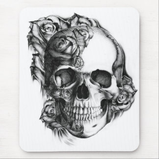 Hand drawn rose skull in black and white. mouse pad
