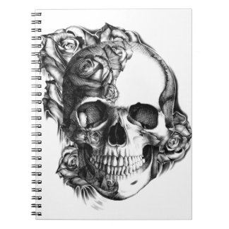 Hand drawn rose skull in black and white. journals