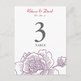 Hand drawn rose table number purple postcard