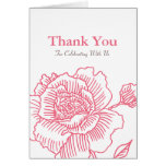 Hand drawn rose THANK YOU card pink
