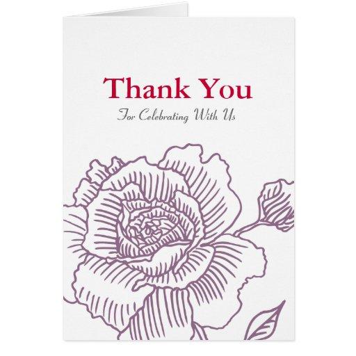 Hand drawn rose THANK YOU card purple