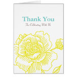 Hand drawn rose THANK YOU card yellow