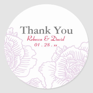 Hand drawn roses favor stickers purple