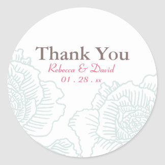Hand drawn roses favor stickers turquoise
