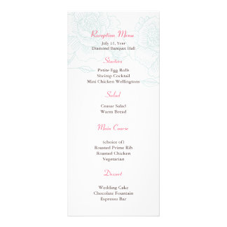 Hand drawn roses reception menu turquoise rack cards