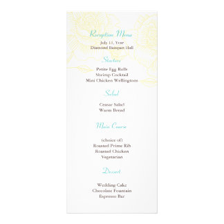Hand drawn roses reception menu yellow rack cards