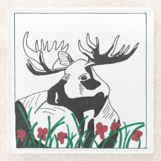 Hand-Drawn Rustic Outdoors Moose Flowers Art Glass Coaster