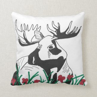 Hand-Drawn Rustic Outdoors Moose Flowers Art Throw Pillow