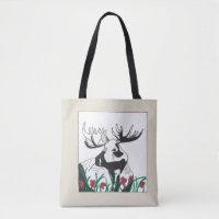 Hand-Drawn Rustic Outdoors Moose Flowers Art