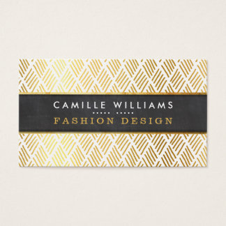 HAND DRAWN rustic pattern stylish gold foil panel Business Card