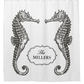 Hand Drawn Seahorse with Vintage Frame Text Shower Curtain