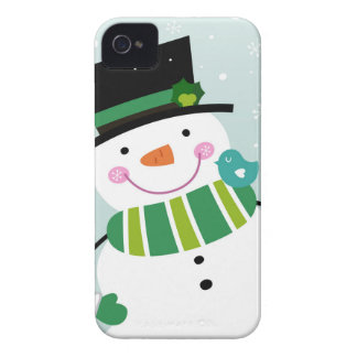 Hand-drawn Snowman green white Case-Mate iPhone 4 Case