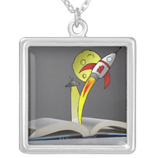 Hand drawn space ship emerging from a storybook silver plated necklace