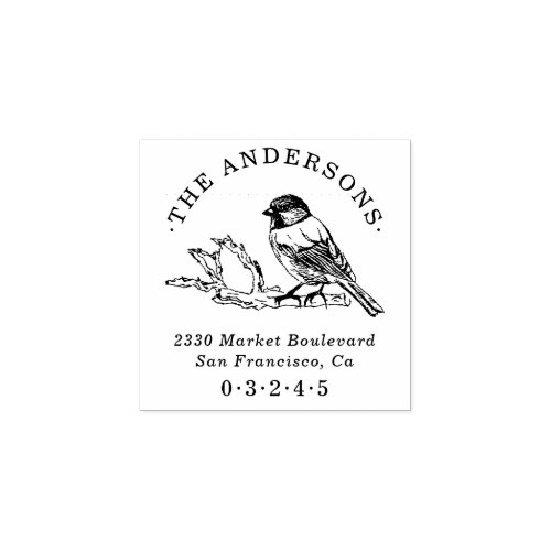 Hand_drawn Sparrow Round Name Return Address Rubber Stamp