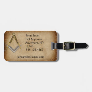Hand Drawn Square and Compass Luggage Tag