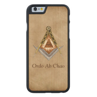 Hand Drawn Square and Compass With All Seeing Eye Carved Maple iPhone 6 Case