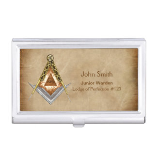 Hand Drawn Square and Compass With All Seeing Eye Case For Business Cards