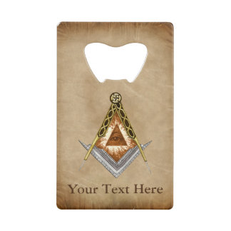 Hand Drawn Square and Compass With All Seeing Eye Credit Card Bottle Opener
