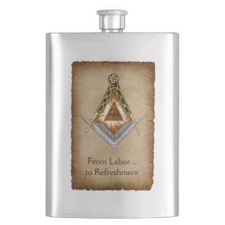 Hand Drawn Square and Compass With All Seeing Eye Hip Flask