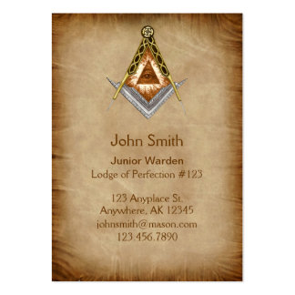 Hand Drawn Square and Compass With All Seeing Eye Large Business Card