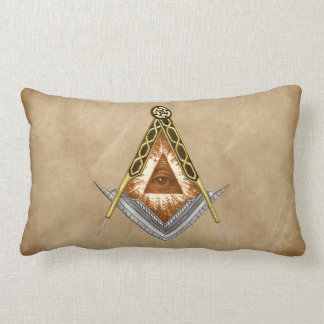 Hand Drawn Square and Compass With All Seeing Eye Lumbar Pillow