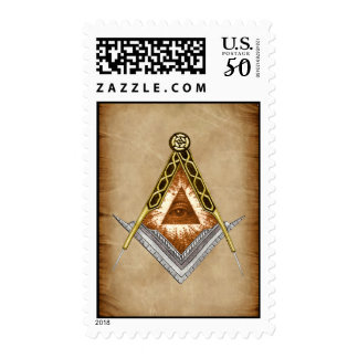 Hand Drawn Square and Compass With All Seeing Eye Postage