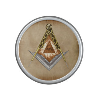 Hand Drawn Square and Compass With All Seeing Eye Speaker