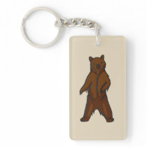 Hand-drawn Standing Brown Grizzly Bear Keychain