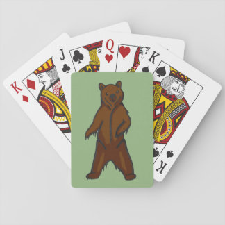 Hand-drawn Standing Brown Grizzly Bear Playing Cards