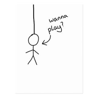 hand drawn Stick hangman figure postcard