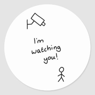 "Hand drawn stick man ""I'm watching you"" sticker"
