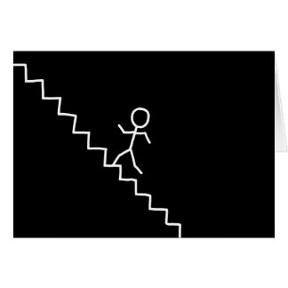 Hand drawn stick man on the stairs card