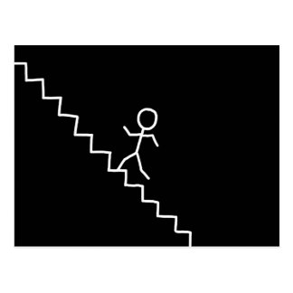 Hand drawn stick man on the stairs postcard