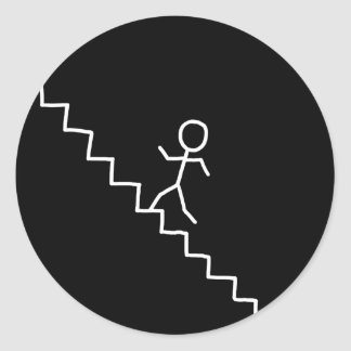 Hand drawn stick man on the stairs sticker
