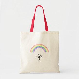 Hand drawn stick man under a rainbow bag