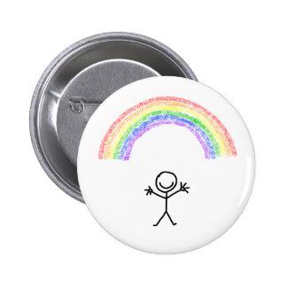 Hand drawn stick man under a rainbow button