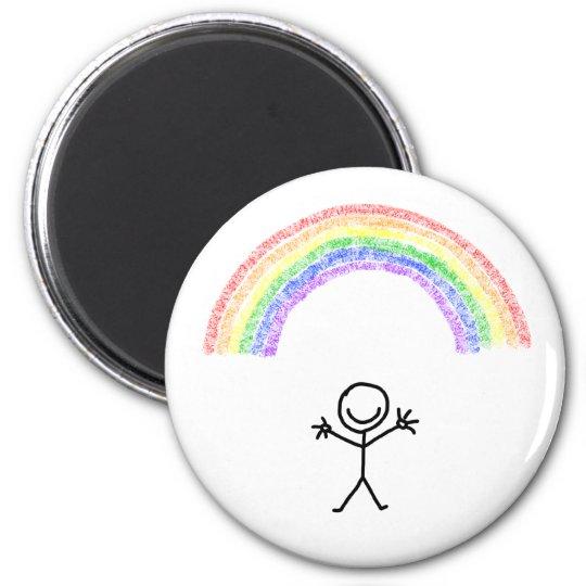 Hand drawn stick man under a rainbow magnet
